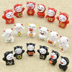 Dekofigur-Lucky-Cats-Ornament-Glueck-Katze-Kaetzchen-Deko-6stk-Suess-Kinder-Geschenk
