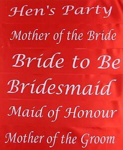 HENS NIGHT BRIDAL SASH SASHES BRIDE BRIDESMAID MAID OF HONOUR - RED + WHITE