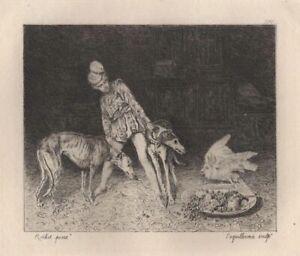 Ferdinand-Roybet-Chien-Perroquet-Le-Page-Eau-Forte-Laguillermie-XIXe