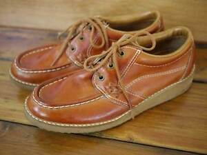 vtg 70s mens sears leather moccasin crepe sole oxford work shoes 7 5