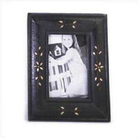 Real Brass Inlay Picture Frame Wood/glass Holds A 4 X 6 Photo