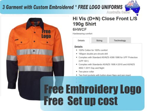 3 Cus HiVis SS Shirts with Your Embroidered FREE YOUR LOGO UNIFORMS056