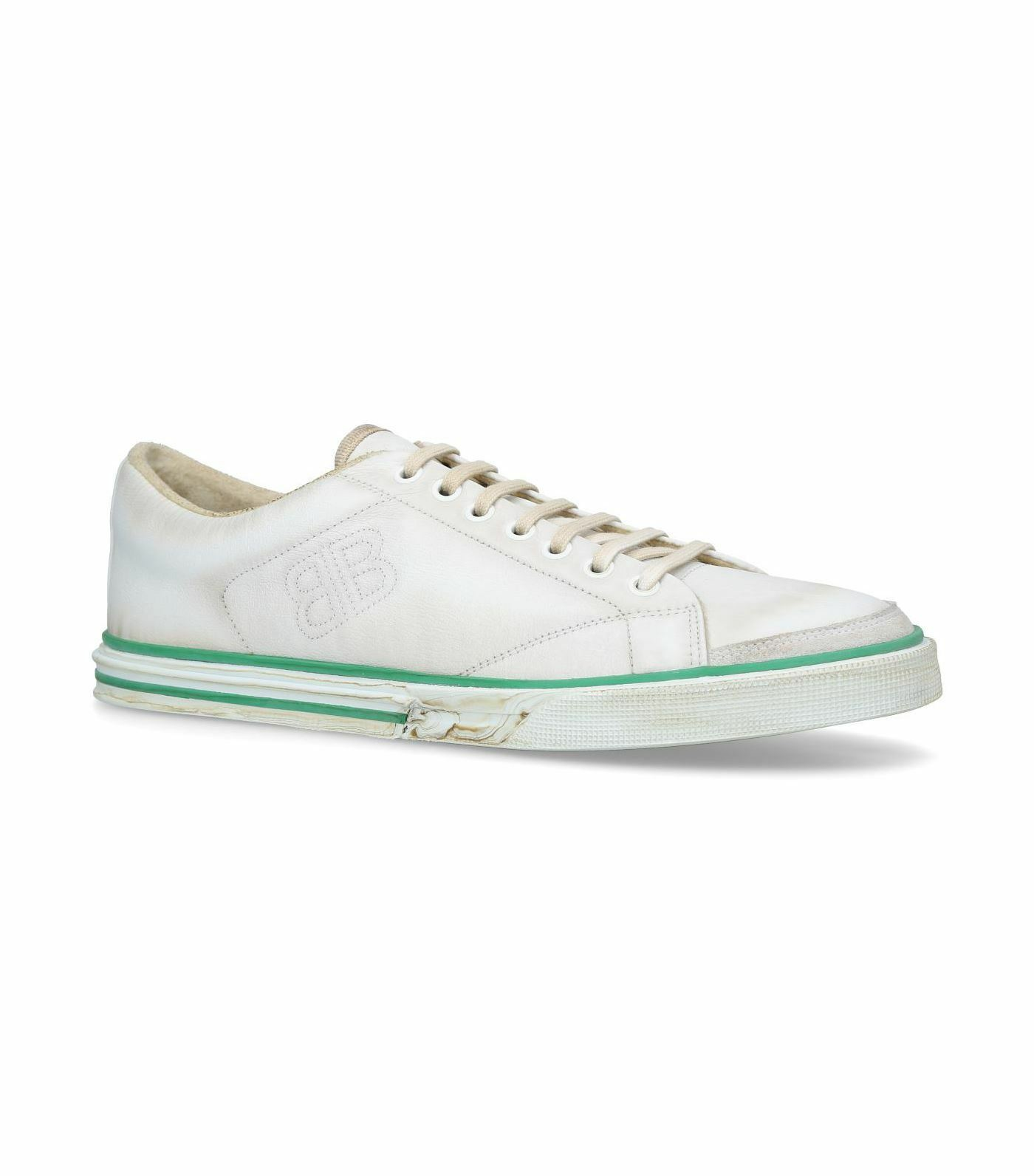 Balenciaga Match low-top calfskin leather kinda distressed trainers White White