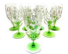 Heisey King Arthur Moongleam Diamond Optic Green Water Glasses Set of 8
