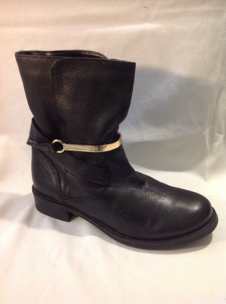 Next Black Ankle Leather Boots Size 4