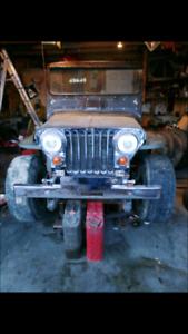 1952 jeep willys flatfender, m38a1, cj2a, CJ, v8