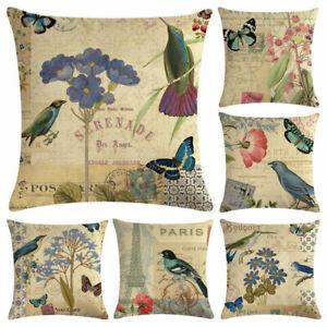 Am-Vintage-Flowers-Butterfly-Bird-Linen-Cushion-Cover-Throw-Pillow-Case-Home-De