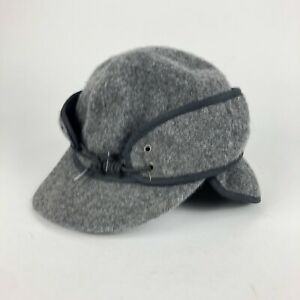 Gray wool hat with ear flaps