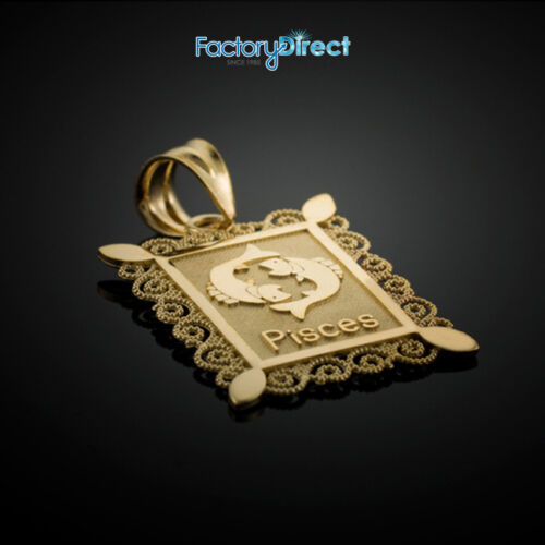Gold Pisces Zodiac Sign Filigree Square Pendant Necklace