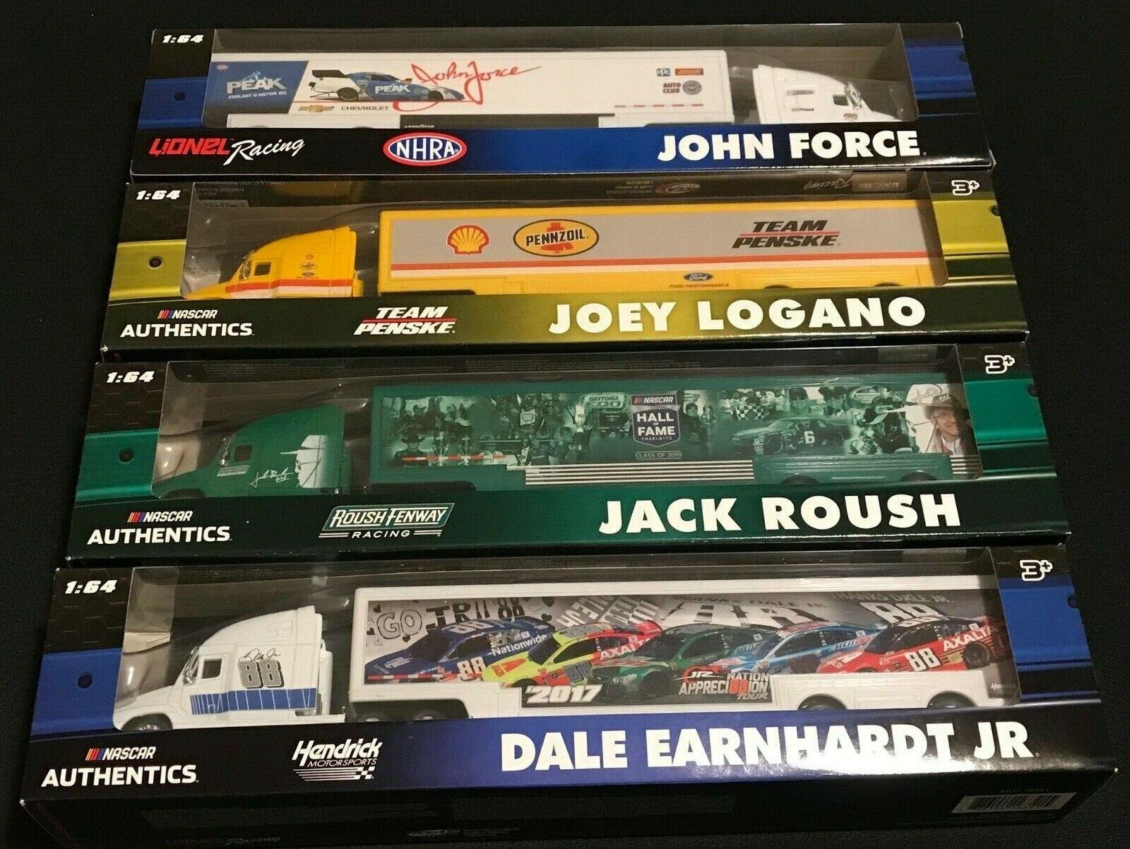 (2) sets=8 2017 2018 2019 NASCAR Authentics 1 64 Car Transporter Hauler Lionel