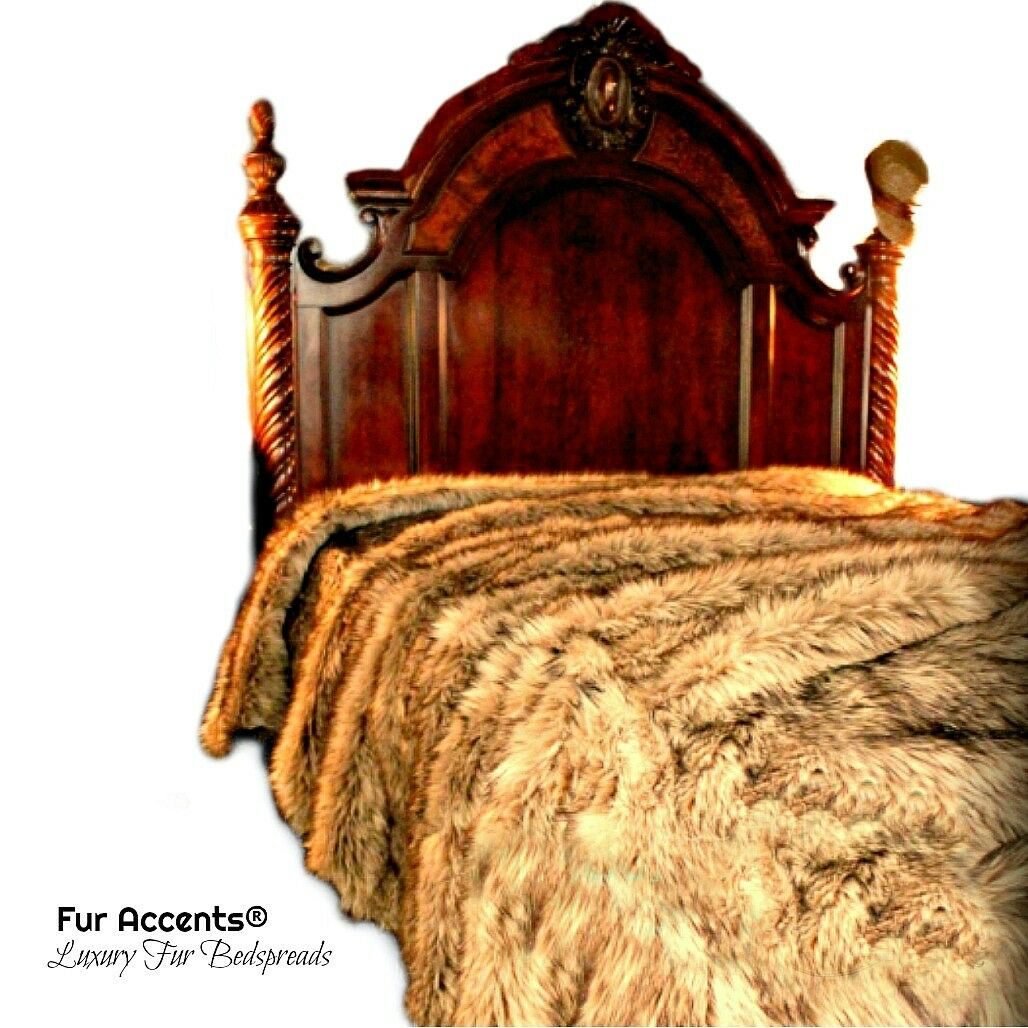 Faux Fur Bedspread - Plush Coyote Wolf - Throw - Blanket - All Sizes FUR ACCENTS