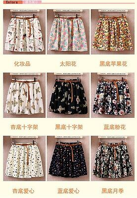 C093 New Lady Girls Floral Chiffon Korean Style Short Pleated Skirt With Belt AU