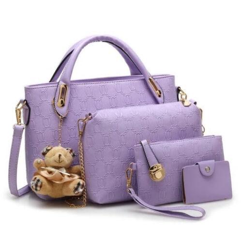 N E W  Women 4 Set Handbags Pu Leather Fashion Designer Handbag Shoulder