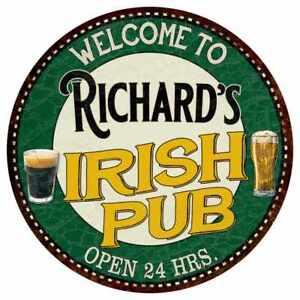 Richard/'s Irish Pub Round Metal Sign Kitchen Bar Wall Décor 100140036432