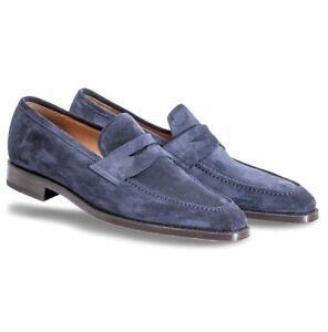 New-Handmade-Men-039-s-Navy-Blue-Slip-Ons-Loafer-Dress-Formal-Shoes
