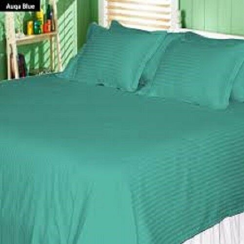 Queen Size Teal bluee Stripe 4Pc Sheet Set 1000 Thread Count 100% Egyptian Cotton