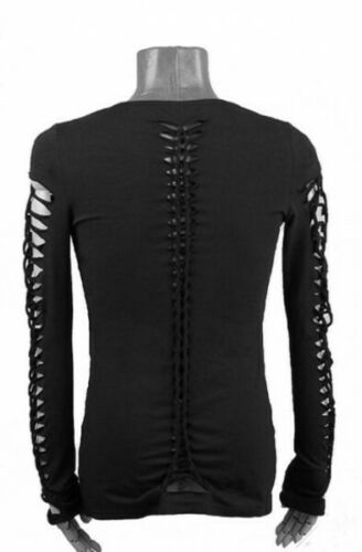 Gothic punk Steampunk Cyber post apocalyptic maglina Shirt Top SEXI L XL Nuovo