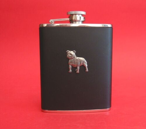 Staffordshire Bull Terrier Dog 6oz Black Hip Flask Leather Boxed Father/'s Gift
