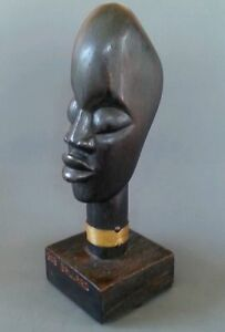Fine Vintage Haitian African Art Carved Large Wooden Head