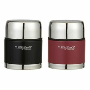 New-THERMOS-Thermocafe-S-Steel-Vacuum-Insulated-Food-Jar-500ml-Matte-Black-Red