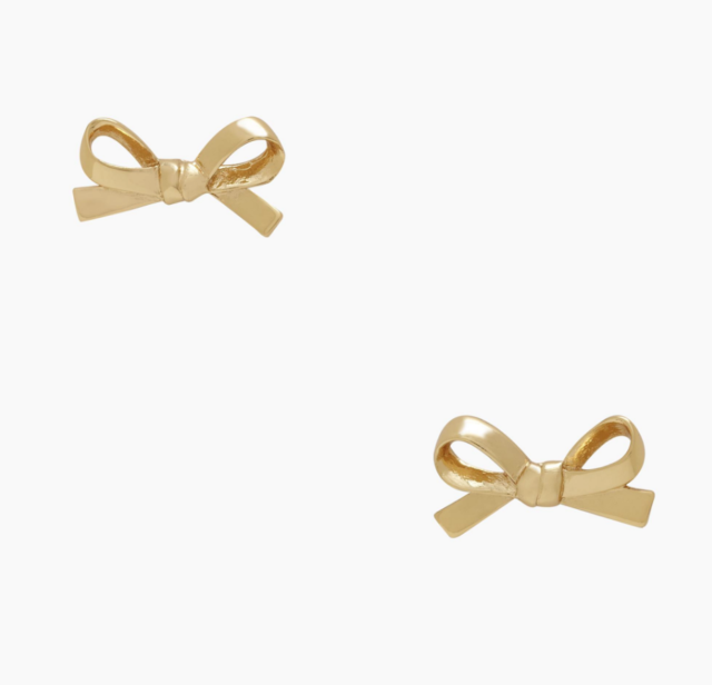 New Kate Spade Gold Plated Skinny Mini Bow Studs Earrings 48 Bridesmaids Gifts