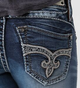 ROCK REVIVAL Women/'s Denim Adele Big Stitch Crystal Skinny Leg Jeans Pants