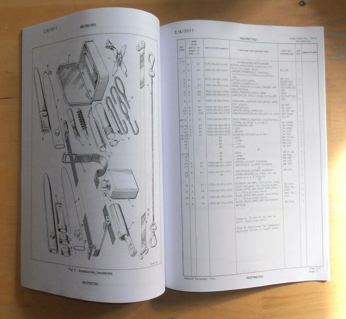 SLR Rifle 7 62mm L1A1 L12A1 Illustrated Parts List