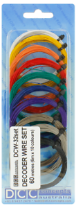 DCC Concepts - DCW-32SET  - 11 x 6m Rolls Mixed Colours 32g Decoder Wire T48Post