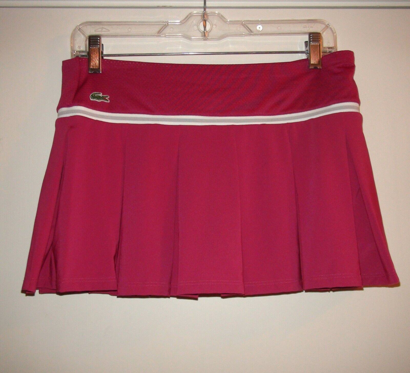 Women's LACOSTE SPORT Technical Pique Dark Pink Tennis Skirt Skort Sz 4 36 NWT