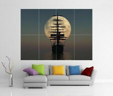 VELA NAVE E MOON pirata barca mare Giant WALL ART PRINT POSTER H251