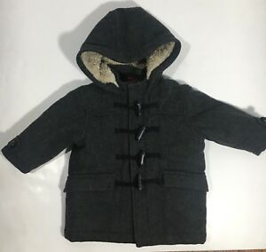 11f01626cda1 Gap Wool Hooded Winter Gray Toggle Coat Baby Boys size 12-18 months ...