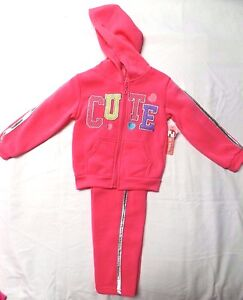 NWT-Girl-039-s-Toddler-2-piece-Zip-Up-Hooded-Sweat-Outfit-Set-sz-2T