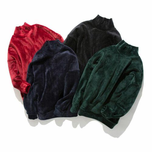 Mens Velvet Sweater Velour High Collar Mock Neck Sweatshirt Warm Tops Loose