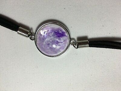 hand painted light purple Silver findings Ceramic Bracelet Lobster clasp.