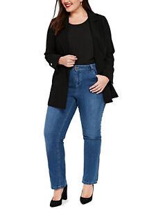 84d3c5b2713 New Ladies Evans Denim Mid-Wash Blue Jeans Straight Leg Trouser Plus ...