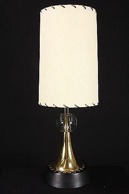 Brass Boudoir Table Lamp With Glass Ball & Texturized Fiberglass Clip-On Shade