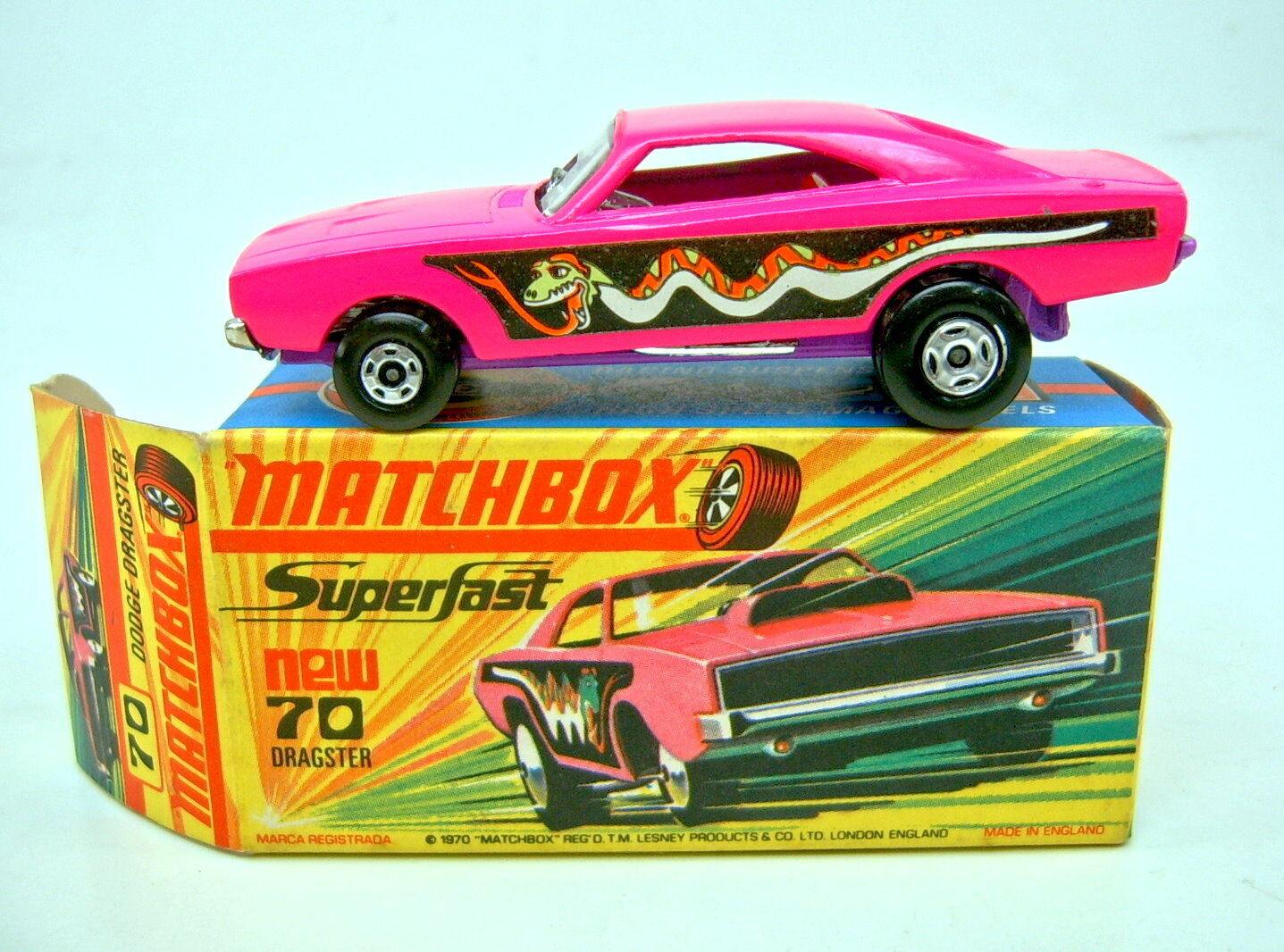 Matchbox No. 70B Dodge Dragster dark lavender base mint boxed