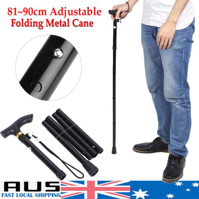 Adjustable Walking Stick Travel Retractable Hiking Folding Cane Metal Pole AU
