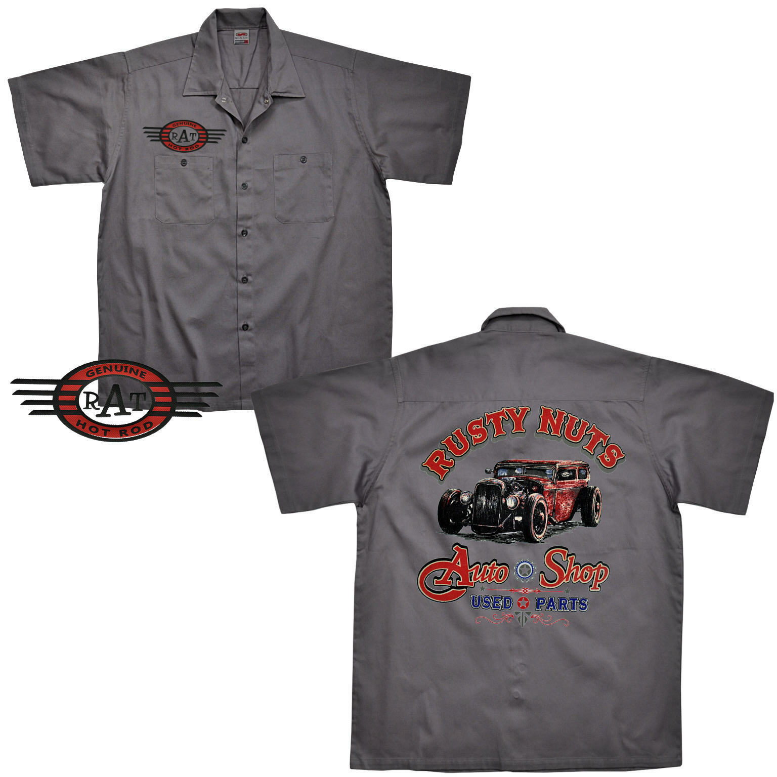Auto Sportiva D'Epoca Rockabilly Officina Worker-Shirt Kustom Camicia 1177
