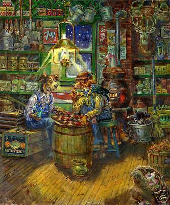 Fox /& Dog Playing Checkers in Store by Lowell Davis