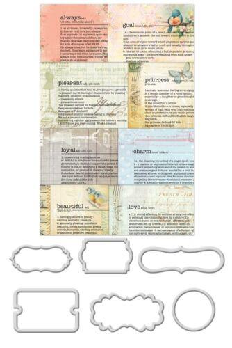 "Prima  563455  /""Newsprint Mini Decorative Frames Divine/"" 7  Pieces NEW"