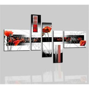 Quadri moderni astratti dipinti a mano bianco rosso nero for Quadri moderni fiori dipinti a mano