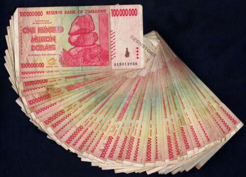 100 Million Zimbabwe Dollars x 50 Banknotes AA 2008 ½ Bundle 50PCS Currency Lot