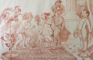 Adolphe Willette (1857 -1926 ) Paris Lithographie Enfant Roi Perroquet Enfance