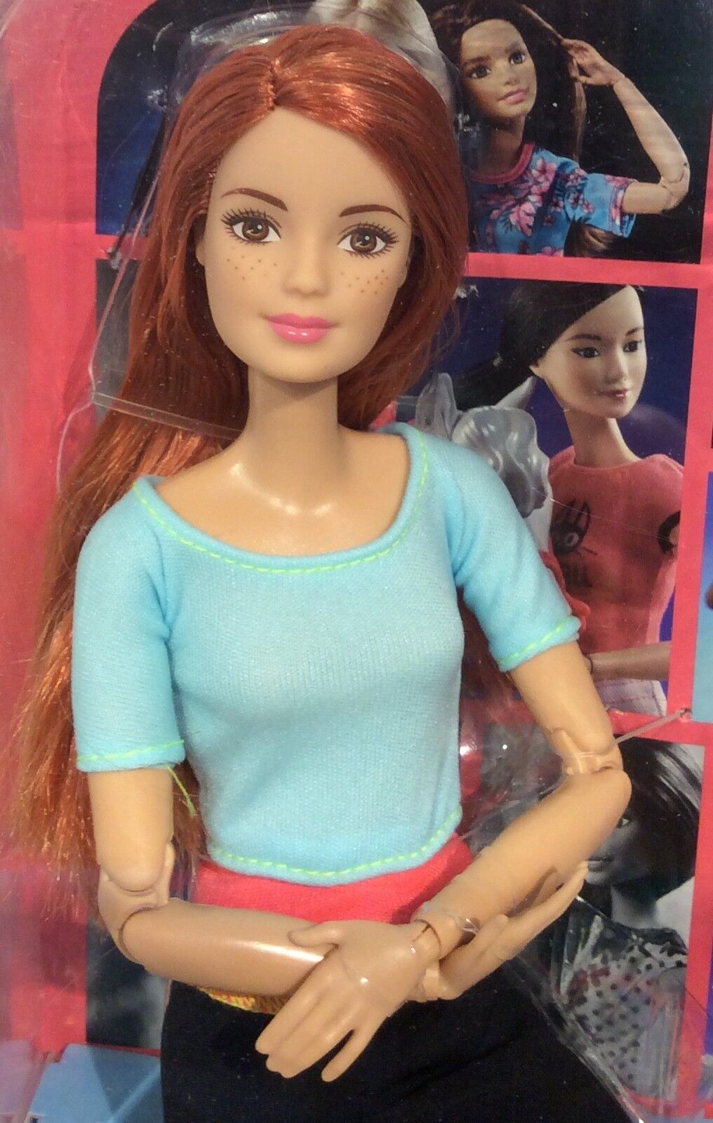 2015 Made to Move Fitness Barbie rossohead doll NRFB Midge face blu top