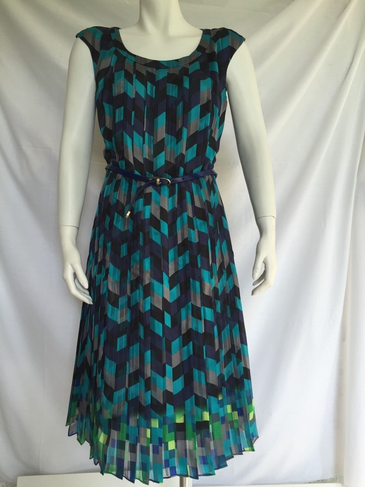 NWT Halogen Belted Cap Sleeve Pleat Dress Größe S Blau Tile
