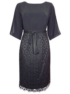 Adrianna-Papell-Navy-Dress-with-Chiffon-Blouson-Top-amp-Lace-Skirt