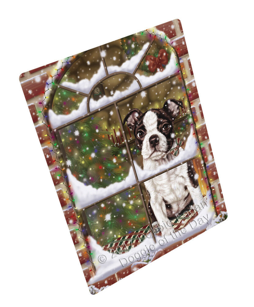 Come Home For Christmas Boston Terriers Hund Woven Throw Sherpa Blanket T249