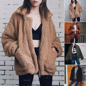 d296221ceda52 Ladies Thick Warm Teddy Bear Pocket Fleece Oversized Jacket Coat Zip ...