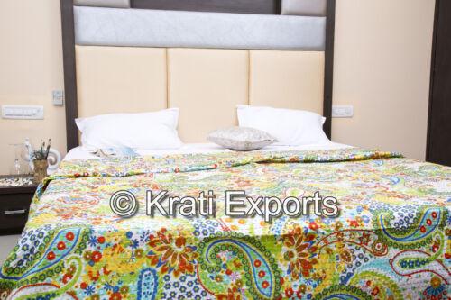 Indian Handmade Cotton King Size Kantha Quilt Reversible Cotton Bedspread Decor